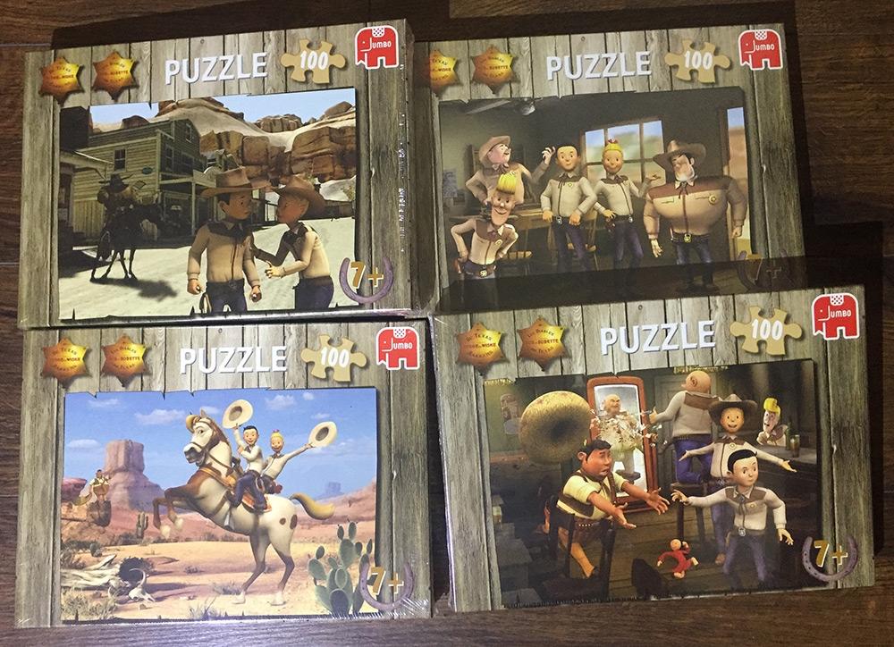 """Set van 4 Suske en Wiske """"De Texas Rakkers"""" puzzels."""
